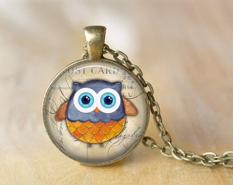 Owl Pendant Necklace Owl Jewelry Art Photo Print Pendant Gift For Her (064)