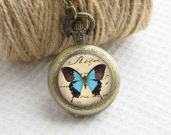 Pocket Watch Necklace Art Photo Pendant Watch Blue Butterfly Locket Necklace (005)