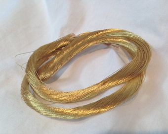 Vintage 24K Gold Thread Wrapped Around Silk