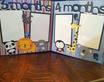 Baby Boy (at) 3 Months and (at) 4 Months (of age) Pre Made 12 x 12 Double Page Layout