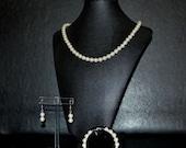 Ivory Pearl Set Bracelet Necklace Earrings Bridal Bridesmaid
