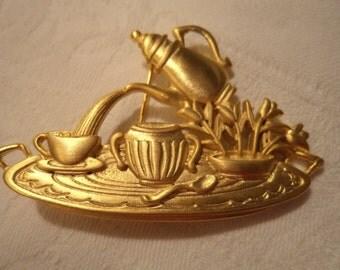 Vintage Signed JJ Goldtone Afternoon Tea Brooch/Pin