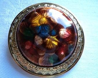 Vintage Unsigned Lightweight Domed Brown Flower Brooch/Pin