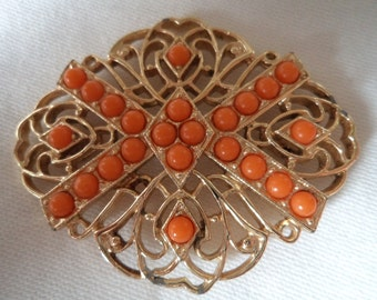 Vintage  Sarah Coventry Goldtone Filigree/Orange Brooch/Pin