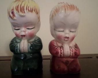 Vintage Children Praying Salt and Pepper Shakers