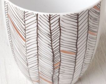 Herringbone Design Hand Painted Porcelain Mug in Black, White, and Gold