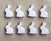 8 Acrylic New Bunny Rabbits White - Laser Cut - Make Easter Earrings - 18mm