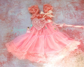 Valentine dress, Sweetheart  Pink Heart Chiffon Lace Dress,Pink Dress,baby dress,Birthday outfit, Babydoll dress, Valentines,girls dress