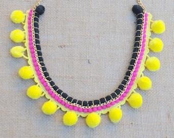 Gypsy Black and Yellow Pom Pom Necklace