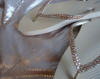 Gold Flip Flops With Gold Crystals