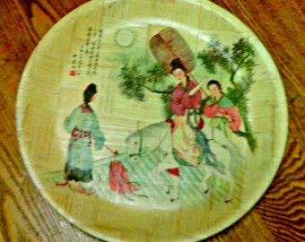 Vintage Oriental Woven Bamboo Large Plate Wall Art