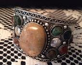 Tribal bohemian stone cuff bracelet