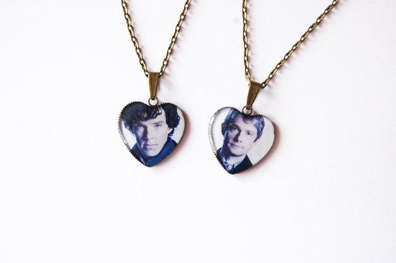 Sherlock Holmes and  Doctor John Watson - Set of 2 Handmade Heart Cameo Necklaces - Best Friends Jewelry - Sherlock Jewelry