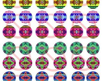 "Native Print Design 1"" Bottle Cap Images"