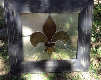 New Orleans Saints Fleur de lis Stained Glass Panel