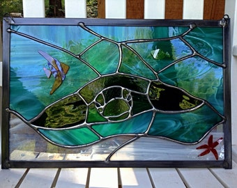 Stained Glass Panel Sea Turtle