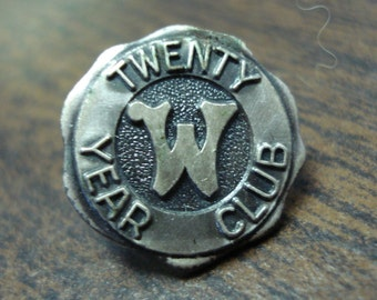 Sterling Silver Twenty Year Club Pin