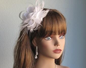White Wedding Headpiece  Fascinator Wedding Headband Wedding Accessory Crystals