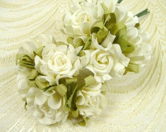 Paper Roses Handmade Flowers Bunch of 10 Antique Ivory with Leaves for Crafts, Scrapbooking, Party Favors, Wedding Decorations