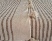 """118""""X78"""" / Moroccan Wool Blankets woven by hand with pom poms / moroccan wool throw"""