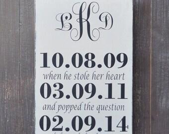 Bridal Shower Gift, Custom Wood Wedding Sign, Wedding Gift, Anniversary gift, Engagement Gift, Important Date Sign, Monogram Sign