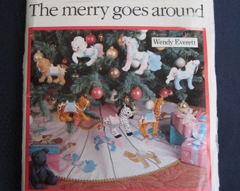 Vintage Butterick Pattern Christmas Ornaments Carousel Tree Skirt Tiger Camel Horse Lion Zebra 4351 UNCUT