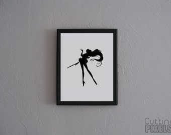 Sailor Pluto Sailor Moon Hand cut paper art black silhouette paper cutting