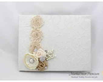 Wedding Large 9x12'' Lace Guest Book Custom Bridal Flower Brooch Guest Books in Ivory and Champagne