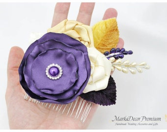 Hair Comb with Handmade Flowers, my Stamen's Accent and Cluster in Lapis, Ivory and Gold