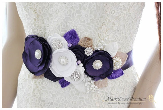 READY TO SHIP Bridal Sash / Belt in Lapis, Purple, Tan  and White with Brooches, Glass Beads, Leaves and Handmade Flowers