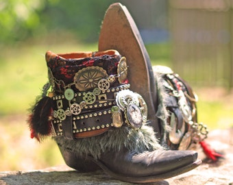 Custom Steampunk vintage Black boho upcycled reworked COWBOY boots Gypsy Boots BLACK boots Upcycled boots Vintage boots