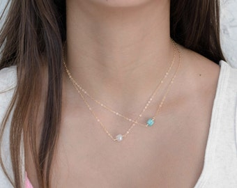 Little Cube Necklace, Tiny Gems Layering Necklace, Add a thin Necklace, Gold or Silver Thin Necklace