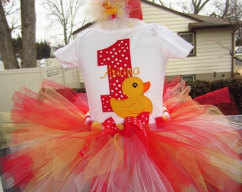 Rubber ducky birthday party tutu outfit