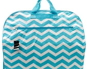 Monogrammed Garment Bag Aqua Chevron