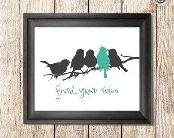 Bird Silhouette Print, Printable wall art decor print, Birds on a Branch inspirational message, digital image, INSTANT DOWNLOAD