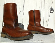 Vintage FIELD & STREAM/Mens Work Boots/Leather Boots/Work Boots/Hunting Boots/Ranch Boots/Rockabilly Grunge/Retro 60s/Mens Size 8.5 C/USA