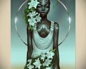 VIRGO- Zodiac Astrology Birthday Gift Idea Afrofuturism Black Woman Wall Art Afro Natural Hair African American Artwork by Sheeba Maya