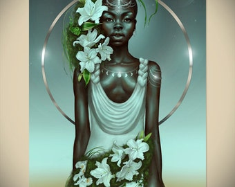 VIRGO- African American Zodiac Art Black Woman Goddess Natural Hair Afro Afrofuturism Fantasy Illustration Painting by Sheeba Maya