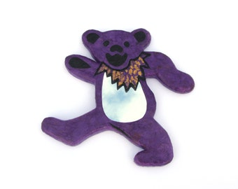 Decorative mirror Violet Dancing Bear,hand made wall hanging mirror