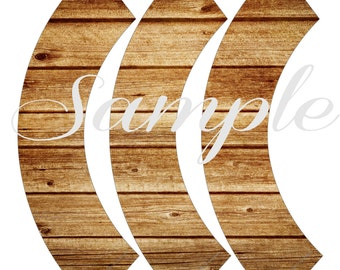 INSTANT DOWNLOAD Wood grain Cupcake Wrappers PRINTABLE Download - Fun Family Party diy