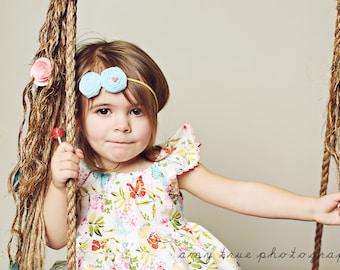 Aqua Yellow Headband ,Sky Blue and  Yellow  Headband for Babies Toddlers Girls