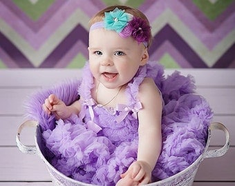 Purple Lilac Turquoise White  Headband ,Tulle  Flower Rosettes Headband for Girls Toddlers Babies