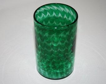 PHTHALO GREEN SPIRAL Glass, Hand Blown Glass Tumbler, Blown Glassware, Blown Drinking Glasses, Hand Blown Glass Art, Green Glassware