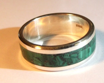 Silver 925 ring with malachite