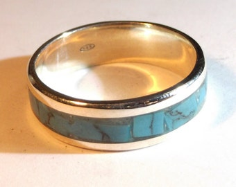Silver 925 ring with turquoise and personalized text