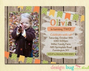 Fall Birthday Invitation - Rustic Wood Burlap Autumn Birthday - Girl or Boy for ANY Age 1st, 2nd, 3rd... Birthday Party Photo Invite