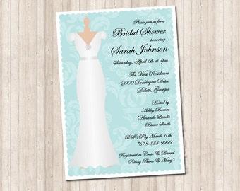 Custom Damask Bridal Shower Dress Invitation