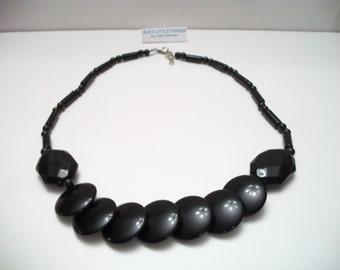 Vintage Black Beaded Disc Necklace Geometric Retro Costume Jewelry Halloween