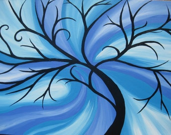 """blue tree of life painting on canvas large huge enormous beach house art paintings bright colorful turquoise for above bed, 36"""" x 24"""""""