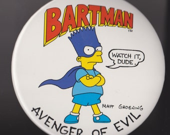 Vintage Giant Bart Simpson Pin!  The Simpsons!  Bartman!  Matt Groening!  1989!